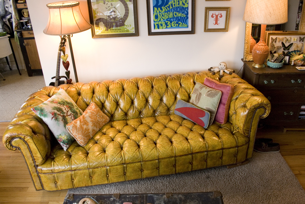 Yellow Leather Chesterfield Sofa Orange Juice Etc